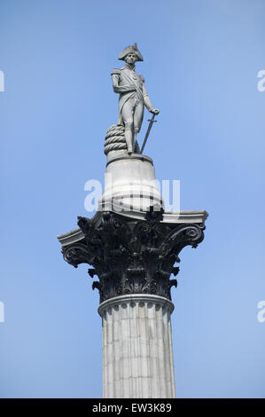 Monument to Admiral Horatio Nelson, Nelson's Column, Trafalger Square, City of Westminster, London, England, April - Stock Photo