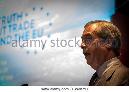 London, UK. 17th June, 2015. UKIP leader Nigel Farage launches exit EU pamphlet Credit:  Guy Corbishley/Alamy Live - Stock Photo