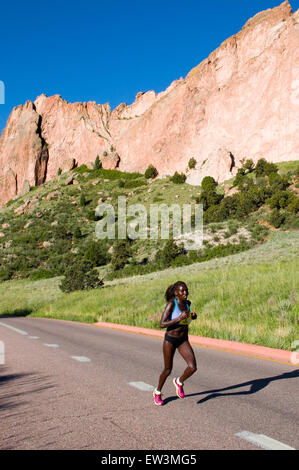 Lead Woman in Garden of the Gods 10 Mile Run - Stock Photo