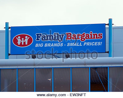 the blue and red logo of family bargains store in Baglan retail energy park near Port Talbot South Wales - Stock Photo