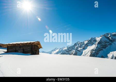 Austrian Alps in the winter -  Mayrhofen ski resort - Stock Photo