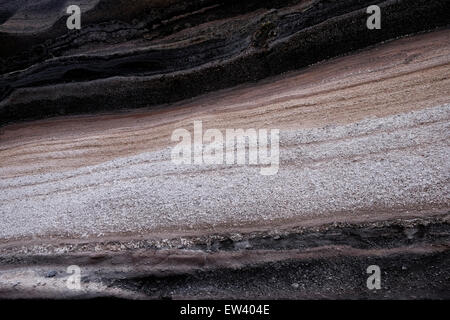 Layers of volcanic deposits and ash from previous eruptions at El Teide National Park a UNESCO World Heritage Site - Stock Photo