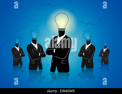 Concept of a thinking 'standing out' businessman with idea. - Stock Photo