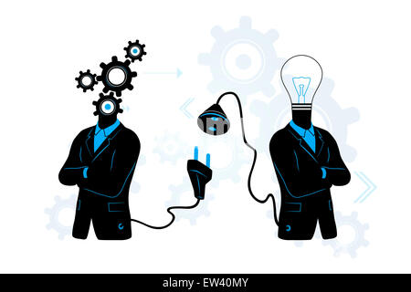 Concept of searching for / connecting to Idea. Businessman with gears connecting to businessman with light bulb. - Stock Photo