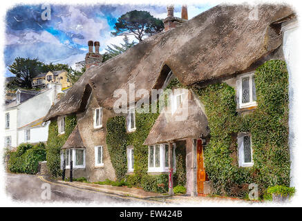 Pretty thatched cottages at the seaside town of St Mawes near Falmouth in Cornwall - Stock Photo