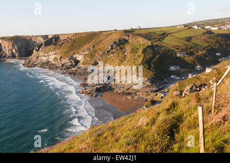 Trebarwith Strand on the North coast of Cornwall, UK at high tide - Stock Photo