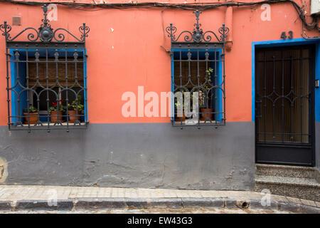 Orange facade of house in the old Jewish merchants' quarter of Tarazona - Stock Photo