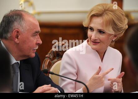 Moscow Region, Russia. 17th June, 2015. Federal Drug Control Service Director Viktor Ivanov (L) and Irina Yarovaya, - Stock Photo