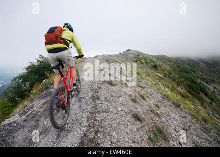 Mountain biking at Mount. St. Helens National Volcanic Monument - Stock Photo