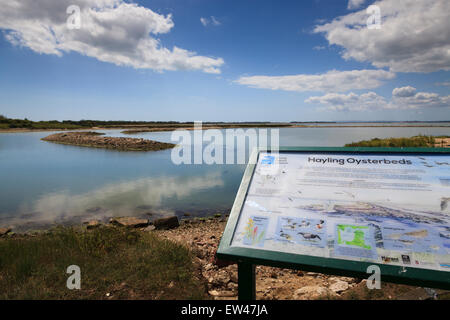 Hayling Island old disused Oyster Beds with information sign about wading birds and wildfowl - Stock Photo