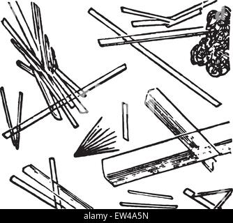 Calcium sulphate, elongated transparent needles or tablets, vintage engraved illustration. - Stock Photo