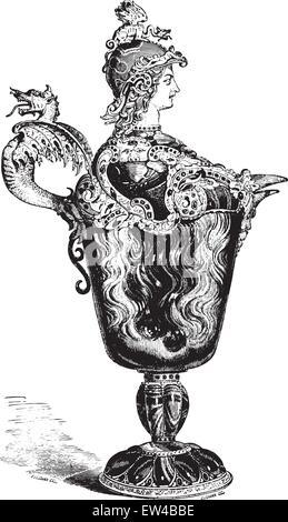 Ewer helmeted the Louvre, vintage engraved illustration. Industrial encyclopedia E.-O. Lami - 1875. - Stock Photo