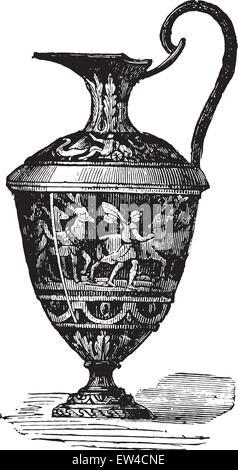Glazed ewer, vintage engraved illustration. Industrial encyclopedia E.-O. Lami - 1875. - Stock Photo