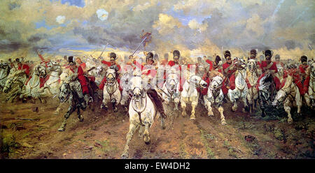 'Scotland Forever! is an 1881 painting by Lady Butler depicting the start of the cavalry charge of the Royal Scots - Stock Photo
