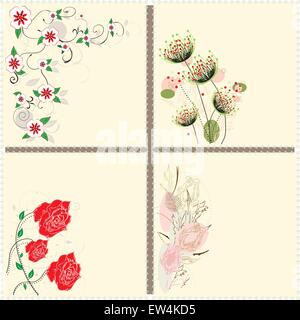 Set of four (4) vintage invitation cards with elegant retro abstract floral design, on yellow. Vector illustration. - Stock Photo