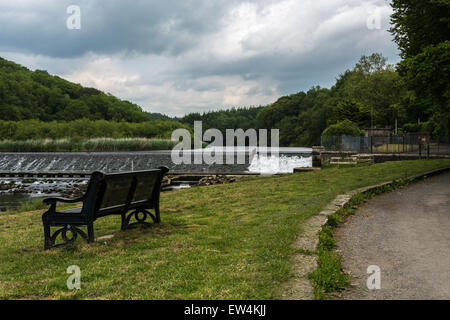 Lopwell Dam on the River Tavy, England - Stock Photo