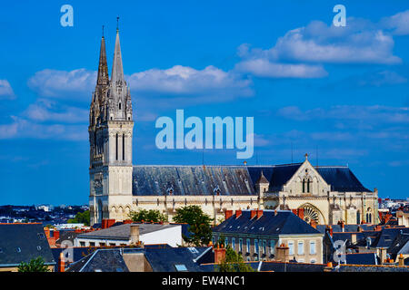 France, Maine-et-Loire, Angers, the city and the St Maurice Cathedral - Stock Photo