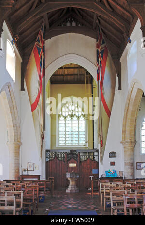 The interior of Burnham Thorpe church looking towards the west window in North Norfolk, England, United Kingdom. - Stock Photo