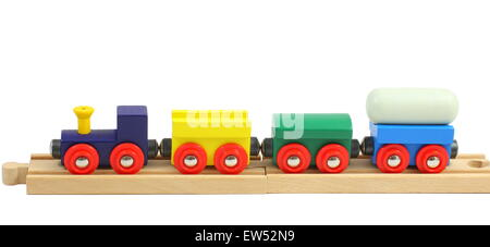 Wooden train toy on rails isolated on white - Stock Photo