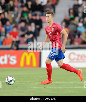 Serbia's Uros Spajic during the UEFA Under-21 European Championships 2015 group A soccer match between Germany and - Stock Photo