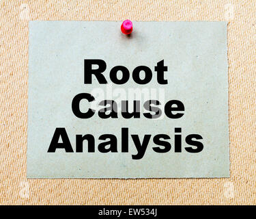 Root Cause Analysis written on paper note pinned with red thumbtack on wooden board. Business conceptual Image - Stock Photo