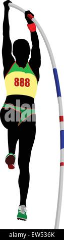Track and field.Athlete pole vaulting.Vector illustration. - Stock Photo