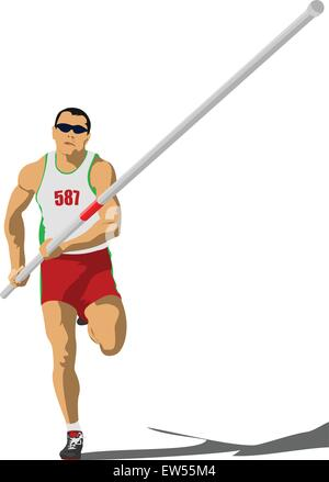 Athlete pole vaulting. . Track and field. Vector illustration. - Stock Photo