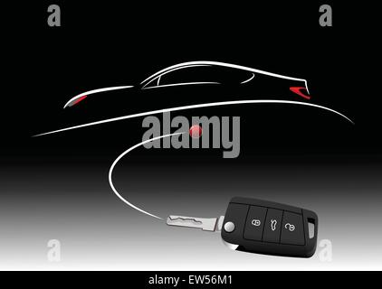 Sketch of silhouette car on white paper with ignition car image. Vector illustration - Stock Photo