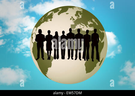 Composite image of silhouette of business people in a row - Stock Photo