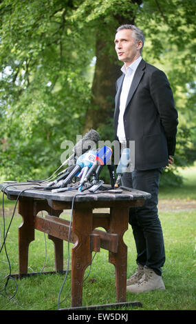 Zagan, Poland. 17th June, 2015. NATO Secretary General Jens Stoltenberg speaks to reporters at a press conference - Stock Photo