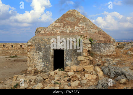 Rethymno, Greece, ruins of the Fortezza in Crete - Stock Photo