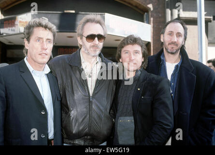 British rock group The Who pictured at the Marquee Club in London.  Left to right: Roger Daltrey, John Entwistle, - Stock Photo