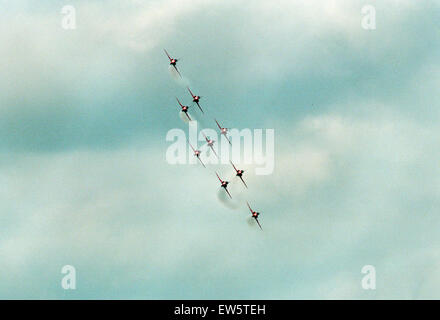 The Red Arrows, RAF Aerobatic Team, performing at the 1993 500 CC British Motorcycle Grand Prix, Donington Park, - Stock Photo