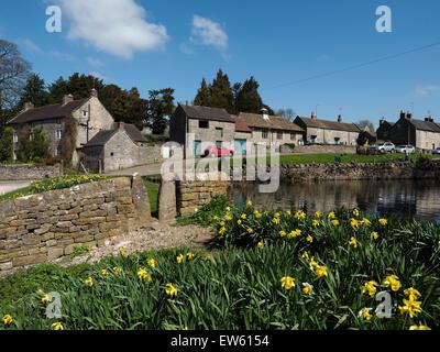 Quaint village of Tissington in the Peak District Derbyshire England - Stock Photo
