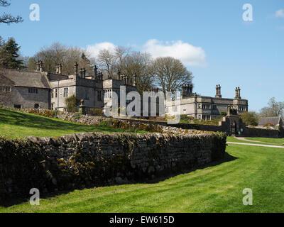 Tissington Hall in the quaint village of Tissington in the Peak District Derbyshire England - Stock Photo