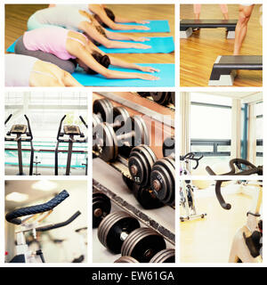 Composite image of yoga class in childs pose in fitness studio - Stock Photo
