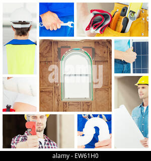 Composite image of architect holding blueprint in house - Stock Photo