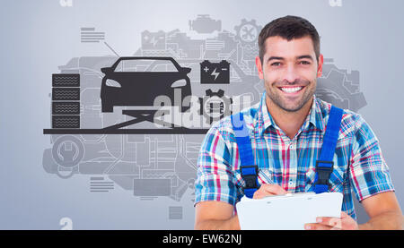 Composite image of happy plumber writing on clipboard while sitting on toolbox - Stock Photo