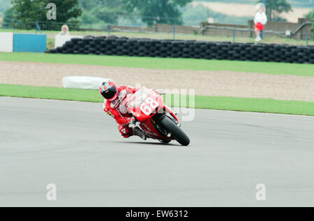 1993 500 CC British Motorcycle Grand Prix, Donington Park, 1st August 1993. No. 68 Carl Fogarty racing a Cagiva - Stock Photo