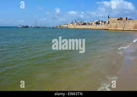 Landscape view of Acre Akko old city port skyline, Israel. - Stock Photo