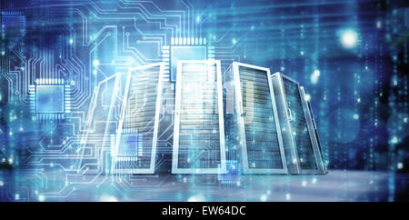 Composite image of digitally generated black and blue matrix - Stock Photo