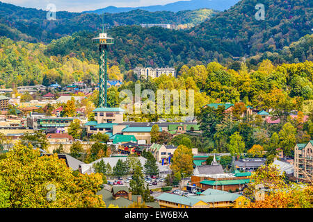 Gatlinburg, Tennessee, USA townscape in the Smoky Mountains. - Stock Photo