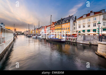 Nyhavn Canal in Copenhagen, Demark. - Stock Photo