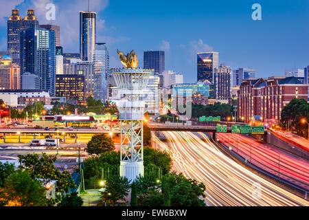 Atlanta, Georgia, USA downtown skyline over Interstate 85. - Stock Photo