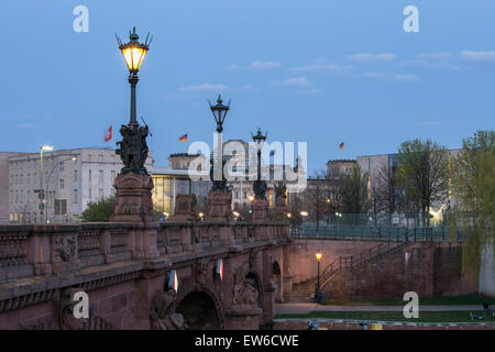 Moltke Bridge, Federal Chancelor Office, Kanzleramt, Reichstag, Berlin - Stock Photo
