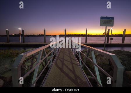 Beautiful sunset view from jetty at Mandurah, Western Australia - Stock Photo