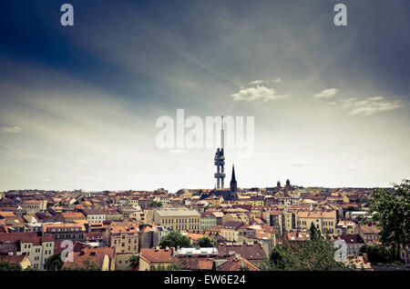 view of Prague with the television tower in Zizkov - Stock Photo