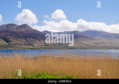 View south across Loch na Keal to cloud covered Ben More mountain. Isle of Mull Inner Hebrides Western Isles Scotland - Stock Photo