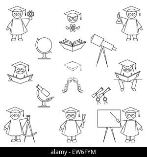 Scientist and education icon set. Thin line art style. Isolated on white background - Stock Photo