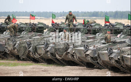 Sagan, Poland. 18th June, 2015. German Marder tanks are pictured during the first 'Noble Jump' maneuvers following - Stock Photo
